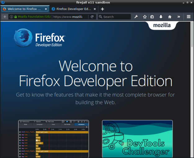 Firefox Developer Edition AppImage running in Firejail sandbox
