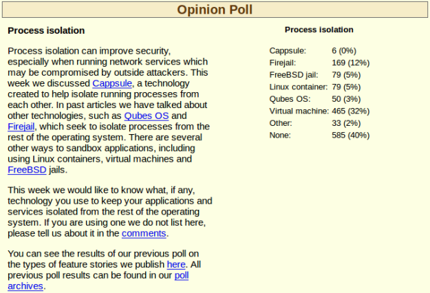 Process Isolation Opinion Poll